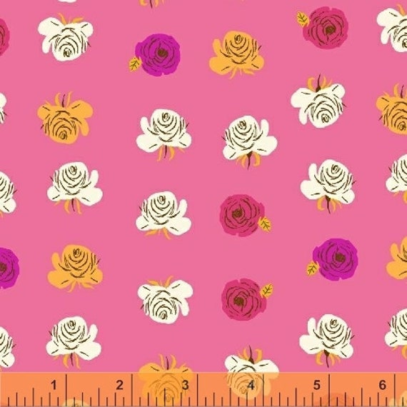 Heather Ross Far Far Away 2 for Windham Fabrics - Fat Quarter of Floral in Pink