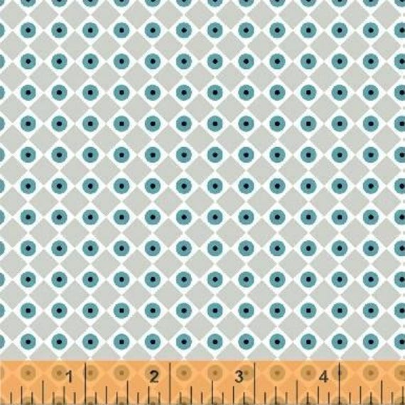 Uppercase Volume 2 by Janine Vangool for Windham Fabrics - Dot the Eyes in Grey and Turquoise - Fat Quarter
