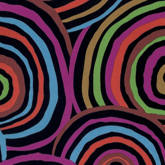 Kaffe Fassett Circles on Black -- Wide Back 108 inches - 25 cm  increment