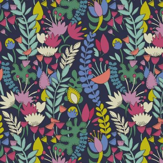 LAWN Fantasy by Sally Kelly for Windham Fabrics - Fat Quarter of Navy Florabundent
