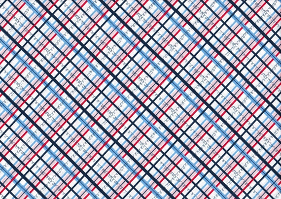 Lighthearted by Ayumi Takahashi for Kokka - Plaid in Blue and Red