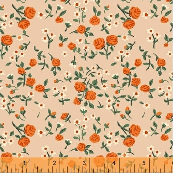 Heather Ross Trixie for Windham Fabrics - Fat Quarter Floral in Peach
