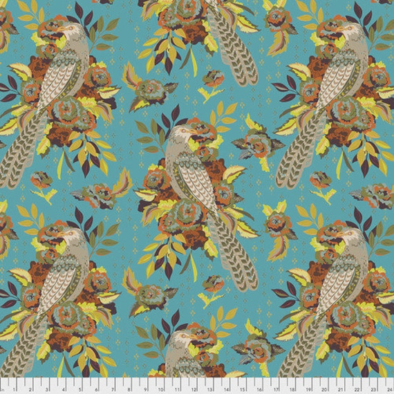 New Vintage by Kathy Doughty for Free Spirit Fabrics - Fat quarter of L'Oiseau in Azure