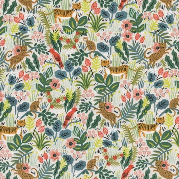Menagerie -- Jungle in Natural by Rifle Paper Company for Cotton and Steel