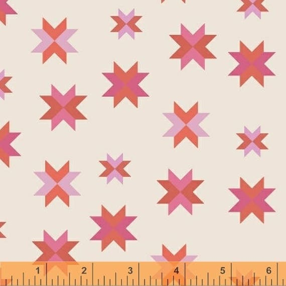 Daisy Chain by Annabel Wrigley for Windham Fabrics - Multi Stars in Coral