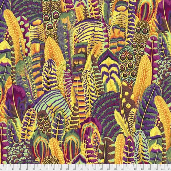 Kaffe Fassett Collective Fall 2018 -- Fat Quarter of Philip Jacobs Japanese Feathers in Gold