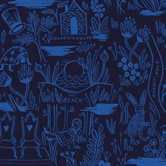 Magic Forest CANVAS in Navy of Wonderland by Rifle Paper Company for Cotton and Steel