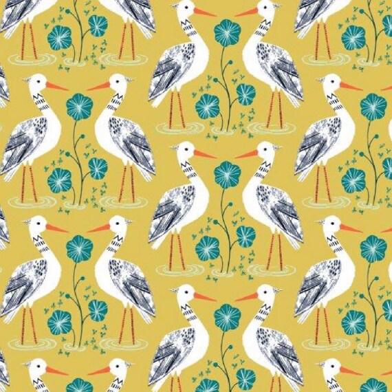 Rivelin Valley by Bethan Janine for Dashwood Studio - Fat Quarter of Egret on Yellow
