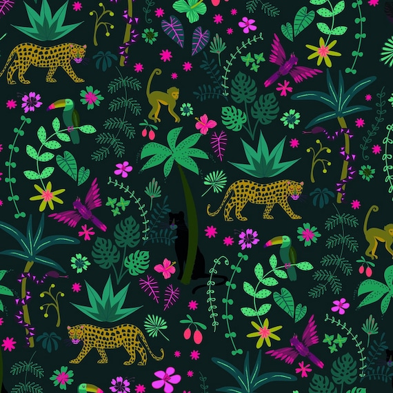 Night Jungle by Elena Essex for Dashwood Studio - Fat Quarter of Night Jungle Scene
