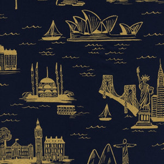 Fat quarter City Toile LAWN in Navy Metallic of Les Fleurs by Rifle Paper Company for Cotton and Steel
