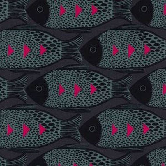 Magic Forest by Sarah Watts for Cotton and Steel - Fat Quarter- Fish in Charcoal