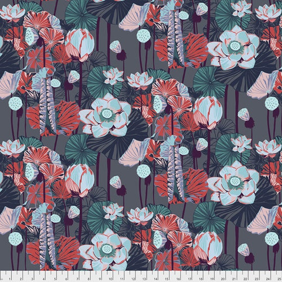 One Mile Radiant by Anna Maria Horner for Conservatory Chapter 3 with Free Spirit Fabrics- Fat Quarter of Lotus in Midnight