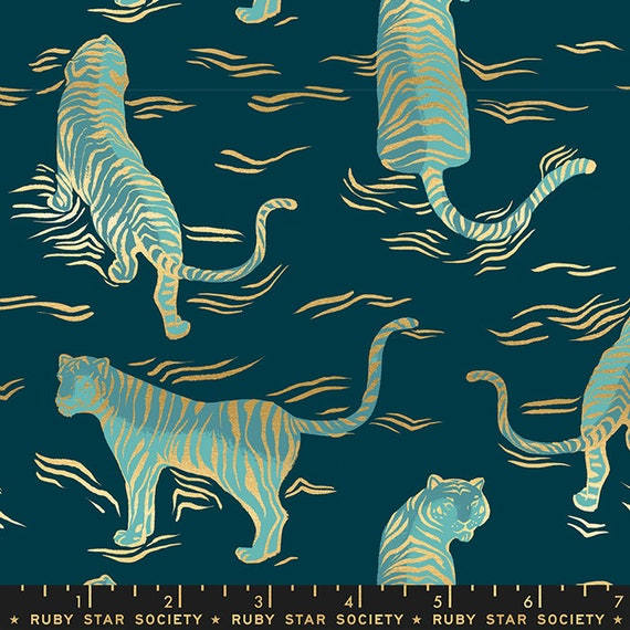 Tiger Fly -- Ruby Star Society Fabric, RS2015-14M  Tiger Fly in Metallic Dark Teal by Sarah Watts -- Fat Quarter