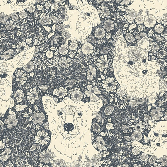 Art Gallery Wandering with Bear in Flannel - Purchase in 25cm Increments