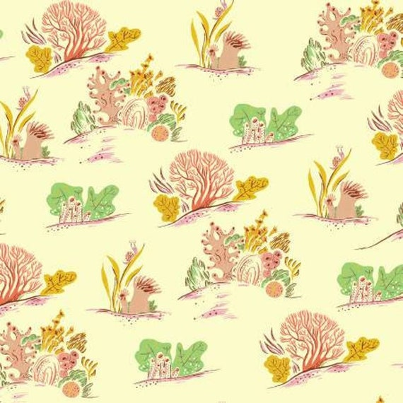 Malibu by Heather Ross -- Fat quarter of Surf Coral in Minty - 52147-21