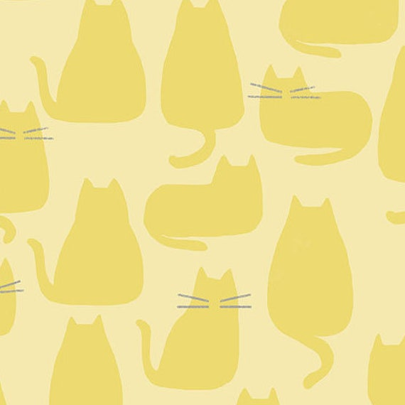 Whiskers and Dash by Sarah Golden for Andover Fabrics - Fat Quarter of Whiskers in Sunshine (A-9168-YL)