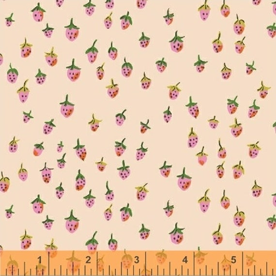 Heather Ross Trixie for Windham Fabrics - Fat Quarter Field Strawberries in Blush