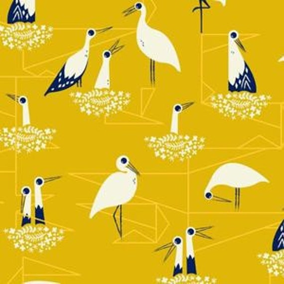 In Stock! Fat Quarter Stork Nest in Yellow -- From Porto With Love by Sara Watts for Cotton and Steel