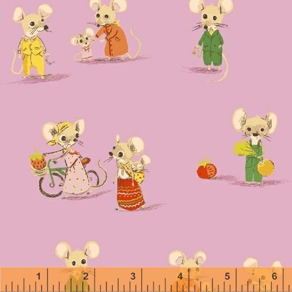 Heather Ross Trixie for Windham Fabrics - Fat Quarter City Mouse in Light Purple