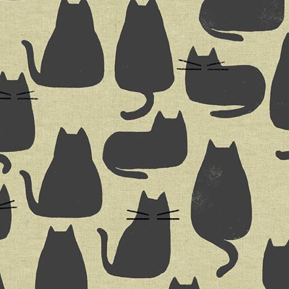Home by Sarah Golden for Andover Fabrics - Fat Quarter of Whiskers in Chat Gris -- Cotton Canvas