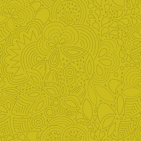 Sunprint 2020 by Alison Glass -- Fat quarter of Stitched in Chartreuse