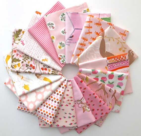 Pink Fabrics  by Heather Ross for Windham Fabrics from Various past lines- Fat Quarter Bundle of 16 - LAST ONE