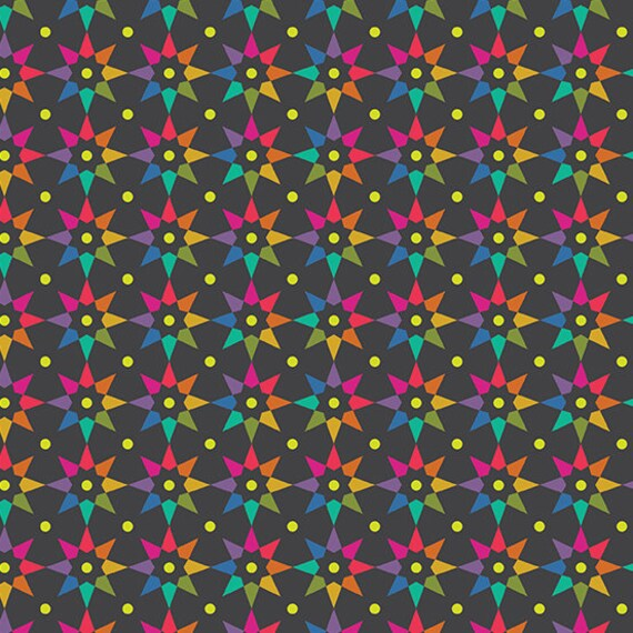 Art Theory by Alison Glass -- Fat quarter of Rainbow Star in Night