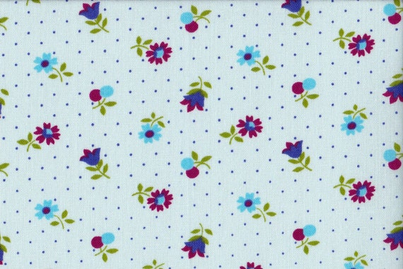 Japanese cotton fat quarter by Kei - Tiny floral in blue.