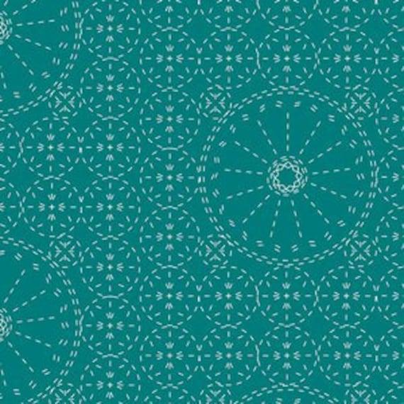 Wild Bloom by Bari J. Ackerman for Art Gallery Fabrics - Sashiko Florette in Teal - Fat Quarter