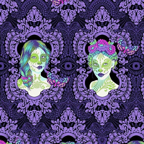 OOP- Tula Pink's De La Luna Fabric Possessed in Haunted for Free Spirit Fabrics — 1/3 yard (30cm).