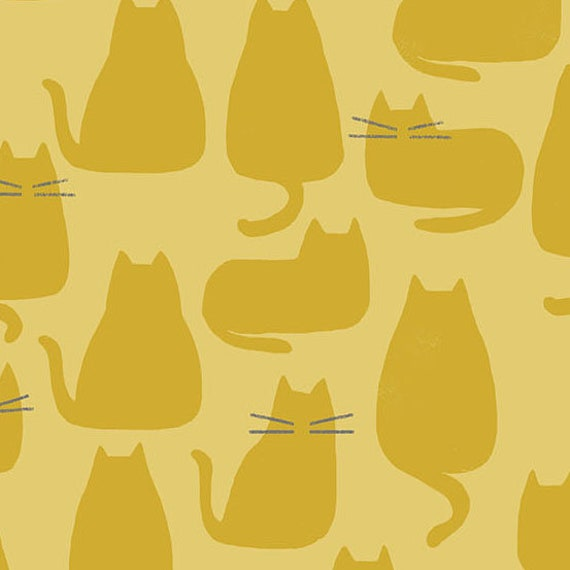 Whiskers and Dash by Sarah Golden for Andover Fabrics - Fat Quarter of Whiskers in Golden (A-9168-Y)