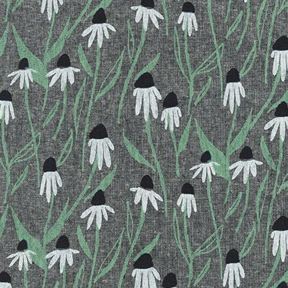 Quarry Trail by Anna Graham for Robert Kaufman, 100% Cotton Linen Canvas -- 25cm -- Coneflowers in Charcoal