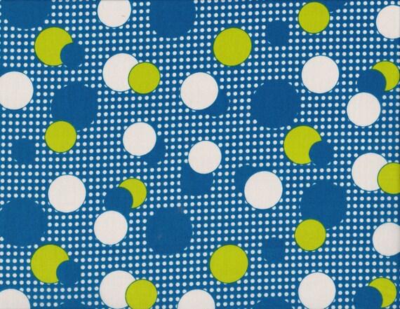 Daiwabo Junko Matsuda fat quarter -- Modern & Bright Collection-- Dots in Blue and Citron