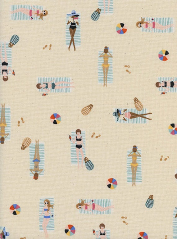 Amalfi --  Fat Quarter of Sun Girls in Natural by Rifle Paper Company for Cotton and Steel