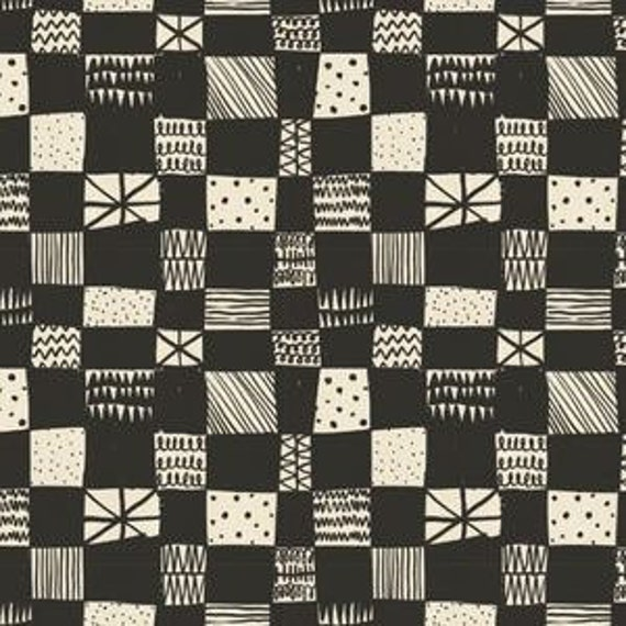 In Stock! Printshop Grid in Dark Charcoal by Alexia Marcell Abegg for Cotton and Steel