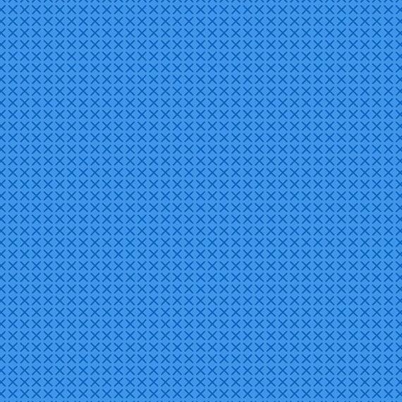 Cross Stitch by Alison Glass -- Fat quarter of Cross Stitch in Kitchen Blue  - A9254-B1