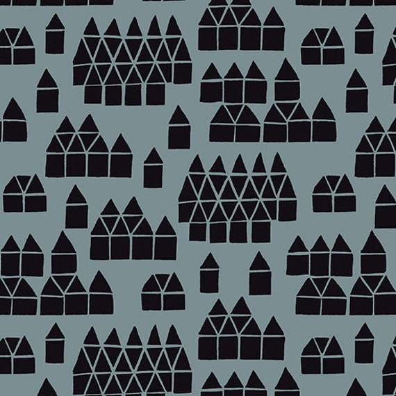 Maker Maker by Sarah Golden for Andover Fabrics - Village in Grey -- Cotton/Linen - Fat Quarter