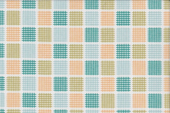Japanese cotton fat quarter by Kei - Geostyle tiny checks in teal and orange on white