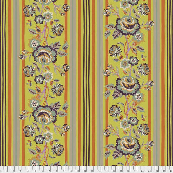 New Vintage by Kathy Doughty for Free Spirit Fabrics - Fat quarter of Vintage Rose in Citron