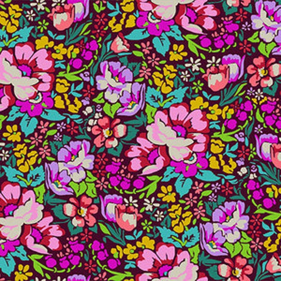 Floral Retrospective by Anna Horner for Free Spirit Fabrics - Overachiever in Burgundy