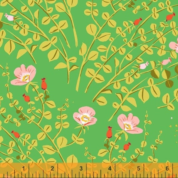 Heather Ross 20th Anniversary Collection for Windham Fabrics - Fat Quarter of Nanny Bee in Green