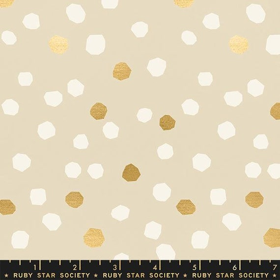 First Light Chunky Dots in Sandbox Metallic (RS048-11M) by Ruby Star Society for Moda -- Fat Quarter