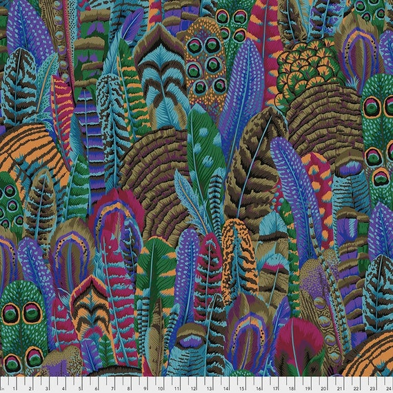Kaffe Fassett Collective February 2021 -- Fat Quarter of Philip Jacobs Feathers in Autumn
