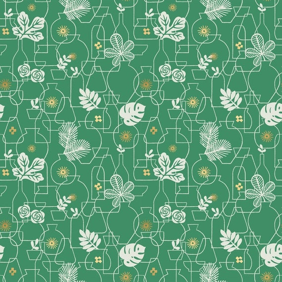 Whatnot Stuff in Potted in Emerald Green RS1015 19M by Rashida Coleman Hale - Ruby Star Society - Fat Quarter