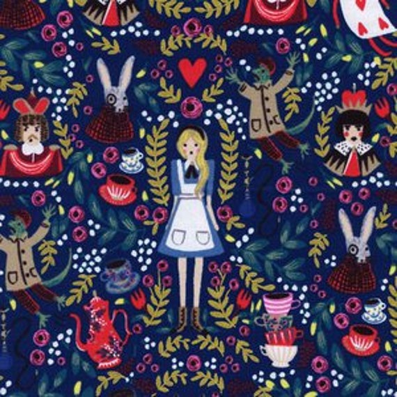 Wonderland -- Wonderland in Navy by Rifle Paper Company for Cotton and Steel