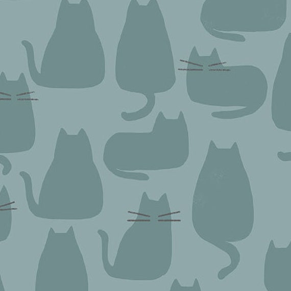 Whiskers and Dash by Sarah Golden for Andover Fabrics - Fat Quarter of Whiskers in Sky (A-9168-T)