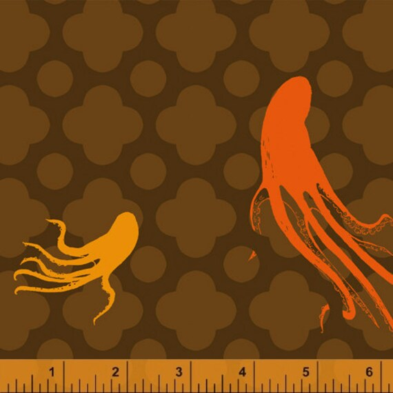 Heather Ross Mendocino for Windham Fabrics - Large Octopus in Brown