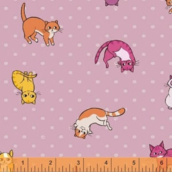 Caturday by Felice Regina for Windham Fabrics - Kitty Toss in Rose