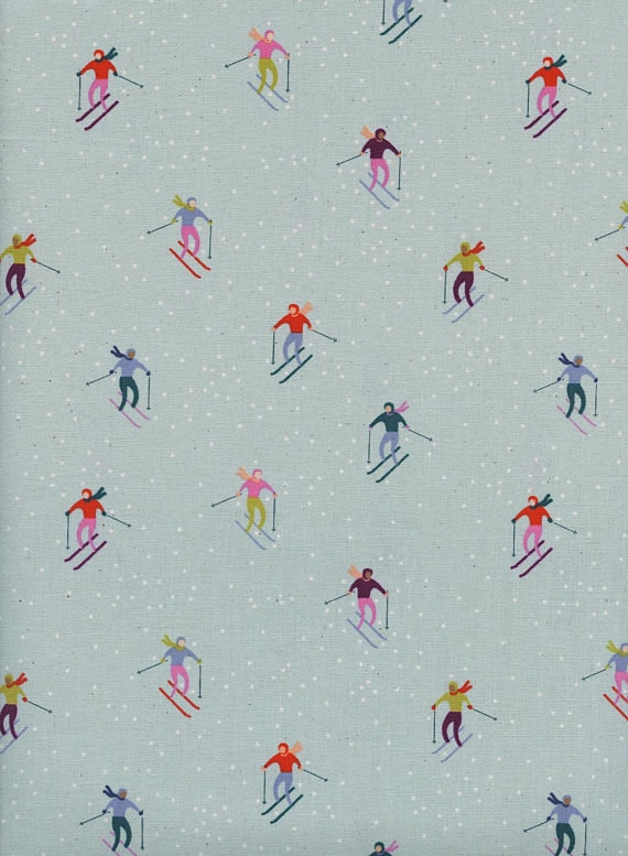 Frost by Cotton + Steel Collaboration -- Fat Quarter of Ski Peeps in Aqua