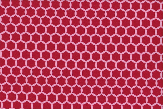 Japanese cotton fat quarter by Kei - Geostyle hexacomb dots in cherry red.